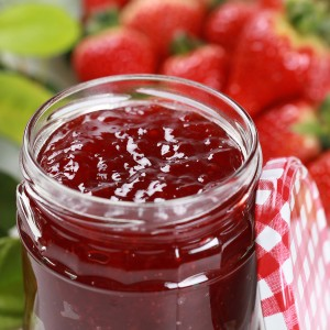 Fresh strawberry jam in a jar