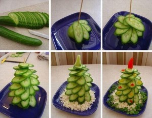 homemade-edible-christmas-trees-cucumbers-white-cheese