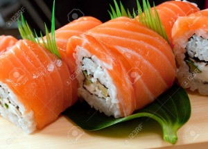 9469462-Japanese-sushi-traditional-japanese-food-Roll-made-of-salmon-Stock-Photo